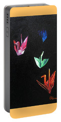 Portable Battery Charger featuring the painting Crane Flight by LaVonne Hand