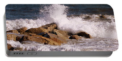 Crashing Surf On Plum Island Portable Battery Charger by Eunice Miller