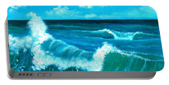 Portable Battery Charger featuring the painting Crashing Wave by Anastasiya Malakhova
