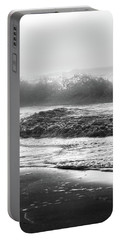 Portable Battery Charger featuring the photograph Crashing Wave At Beach Black And White  by John McGraw