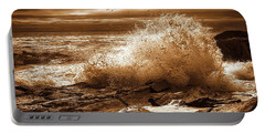 Crashing Wave Hdr Golden Glow Portable Battery Charger by Sherman Perry