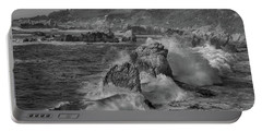 Crashing Waves Big Sur Ca Bw Portable Battery Charger