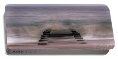 Crashing Waves In Rehoboth Portable Battery Charger by Rob Sellers