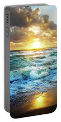 Portable Battery Charger featuring the photograph Crashing Waves Into Shore by Debra and Dave Vanderlaan