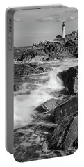 Crashing Waves, Portland Head Light, Cape Elizabeth, Maine  -5605 Portable Battery Charger by John Bald