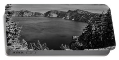 Portable Battery Charger featuring the photograph Crater Lake View In Bw by Frank Wilson