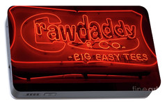 Portable Battery Charger featuring the photograph Craw Daddy Neon Sign by Steven Spak