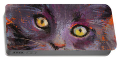 Crazy Cat Black Kitty Portable Battery Charger