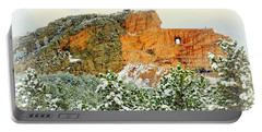 Crazy Horse Memorial In The Snow Portable Battery Charger by Clarice Lakota