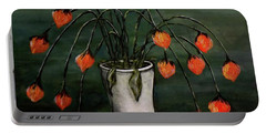 Portable Battery Charger featuring the painting Crazy Red Flowers by Judy Kirouac