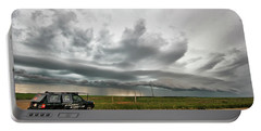 Crazy Shelf Cloud Near Ponteix Sk. Portable Battery Charger
