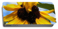 Portable Battery Charger featuring the photograph Crazy Sunflower Look by Belinda Lee