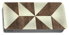 Portable Battery Charger featuring the painting Cream And Brown Quilt by Debbie DeWitt