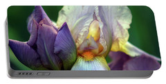 Cream And Purple Bearded Iris With Bud 0065 H_2 Portable Battery Charger