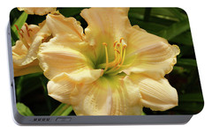 Portable Battery Charger featuring the photograph Cream Daylily by Sandy Keeton