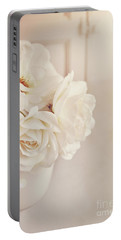 Cream Roses In Vase Portable Battery Charger