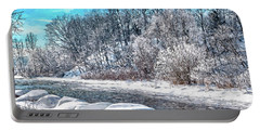 Portable Battery Charger featuring the digital art Credit River At Winter by Kai Saarto