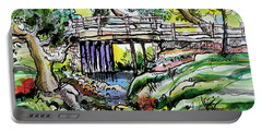 Portable Battery Charger featuring the painting Creek Bed And Bridge by Terry Banderas