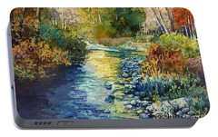 Portable Battery Charger featuring the painting Creekside Tranquility by Hailey E Herrera
