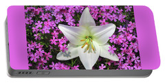 Portable Battery Charger featuring the photograph Creeping Fuchsia Phlox With Lily by Nancy Lee Moran