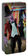 Portable Battery Charger featuring the painting Creepy Circus by Martin Davey