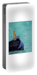 Portable Battery Charger featuring the painting Crescent Mermaid Moon Fairy by Leslie Allen