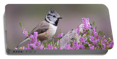 Crested Tit In Heather Portable Battery Charger