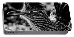 Cresting Roadrunner, Black And White Portable Battery Charger