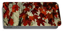 Crimson Red Autumn Leaves Portable Battery Charger