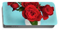 Crimson Roses Portable Battery Charger by Happy Home Artistry