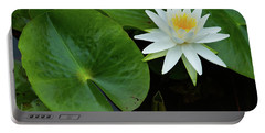 Crisp White And Yellow Lily Portable Battery Charger