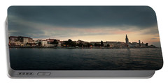 Croatian Town Of Porec At Dusk Portable Battery Charger