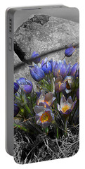 Portable Battery Charger featuring the digital art Crocus - Between A Rock And You by Stuart Turnbull