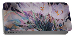 Portable Battery Charger featuring the painting Crocuses by Mindy Newman