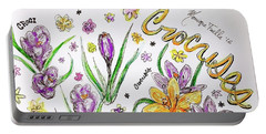 Portable Battery Charger featuring the painting Crocuses by Monique Faella