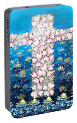 Portable Battery Charger featuring the digital art Cross Of Flowers by Kevin Middleton