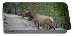 Crossing Paths With An Elk Portable Battery Charger by John Roberts