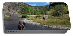 Crossing The Gila On Horseback Portable Battery Charger