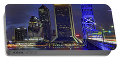 Crossing The Main Street Bridge - Jacksonville - Florida - Cityscape Portable Battery Charger by Jason Politte