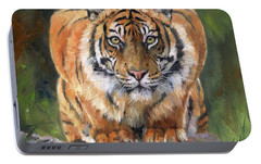 Portable Battery Charger featuring the painting Crouching Tiger by David Stribbling