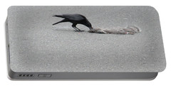 Portable Battery Charger featuring the photograph Crow Chowing Down by Marie Neder