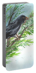 Portable Battery Charger featuring the painting Crow by Karen Ferrand Carroll