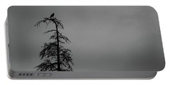 Crow Perched On Tree Top - Black And White Portable Battery Charger