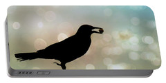 Portable Battery Charger featuring the photograph Crow With Pistachio by Benanne Stiens