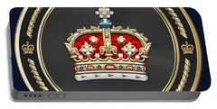Crown Of Scotland Over Blue Velvet Portable Battery Charger