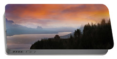 Crown Point At Columbia River Gorge During Sunrise Portable Battery Charger