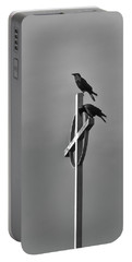 Crows On Steeple Portable Battery Charger by Richard Rizzo