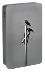 Portable Battery Charger featuring the photograph Crows On Steeple by Richard Rizzo