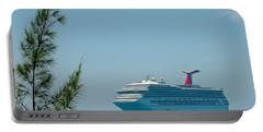 Cruise Ship At Half Moon Cay Portable Battery Charger