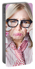Cry Baby Businesswoman Crying A Waterfall Of Tears Portable Battery Charger